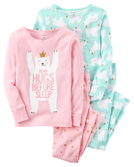 07716826ec56 4-Piece Polar Bear Snug Fit Cotton PJs