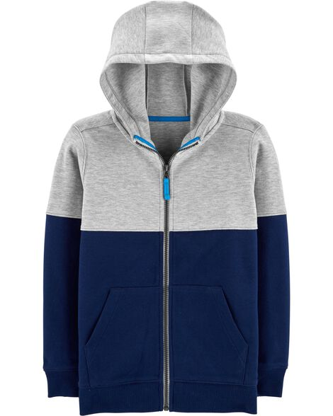 Colorblock Zip-Up Hoodie