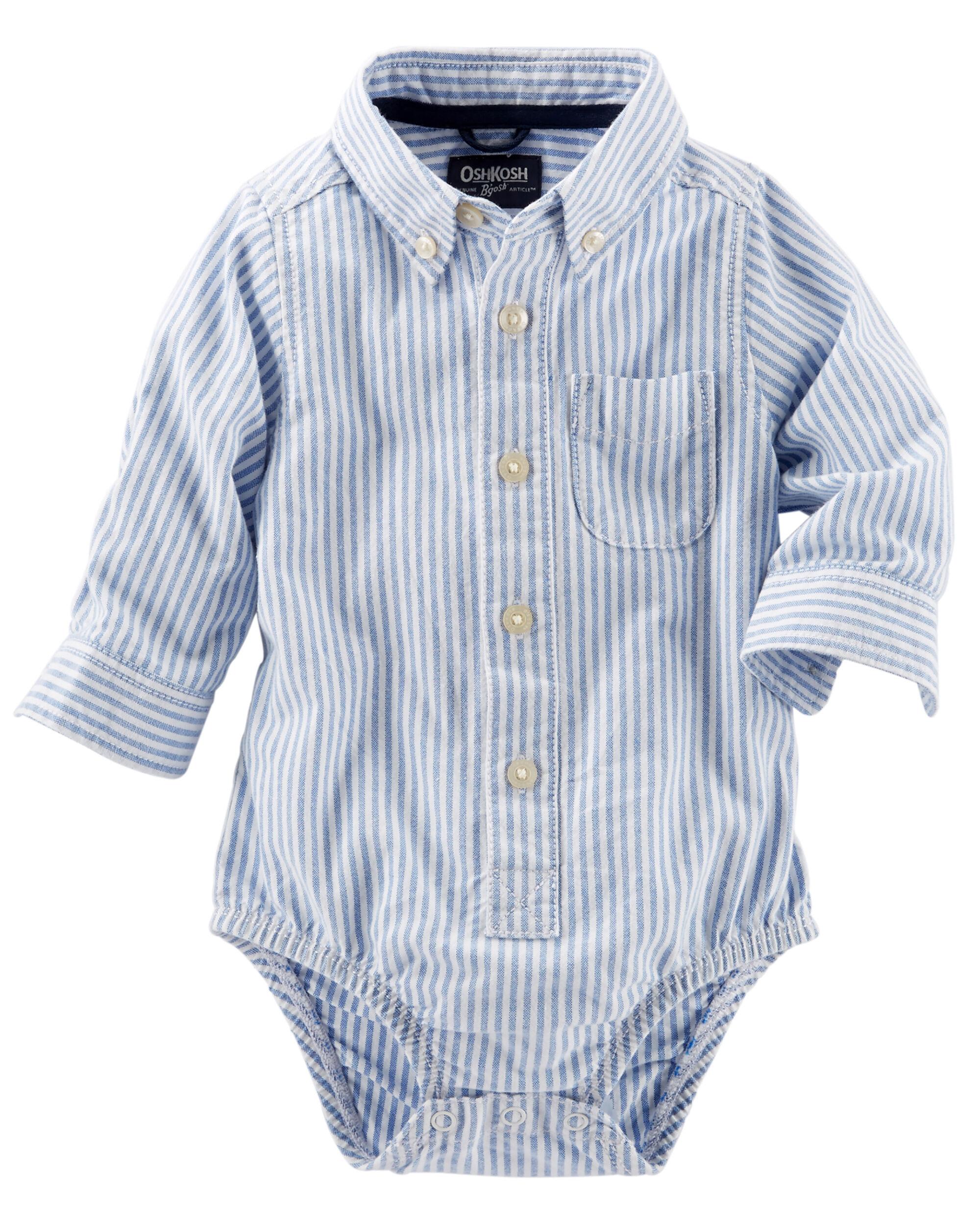 Kid Boy Striped Button Front Oxford Bodysuit