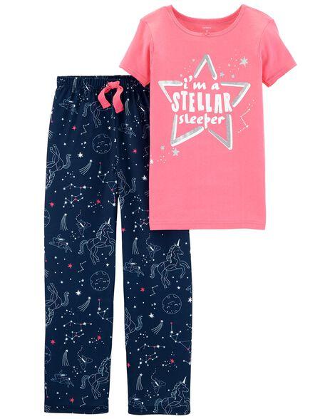 7e0b8d203 2-Piece Glitter Stellar Sleeper Cotton   Poly PJs