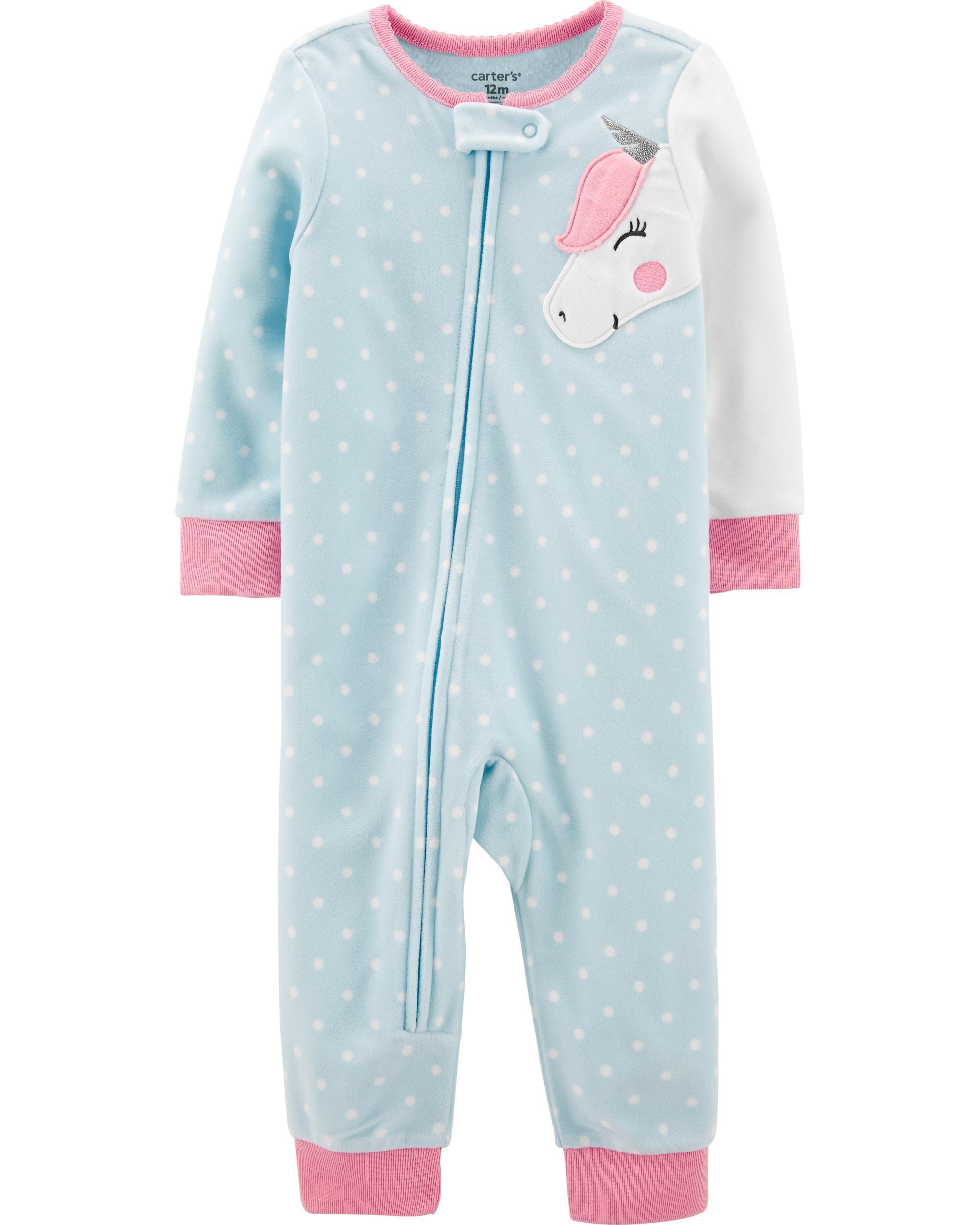 *CLEARANCE* 1-Piece Unicorn Fleece Footless PJs