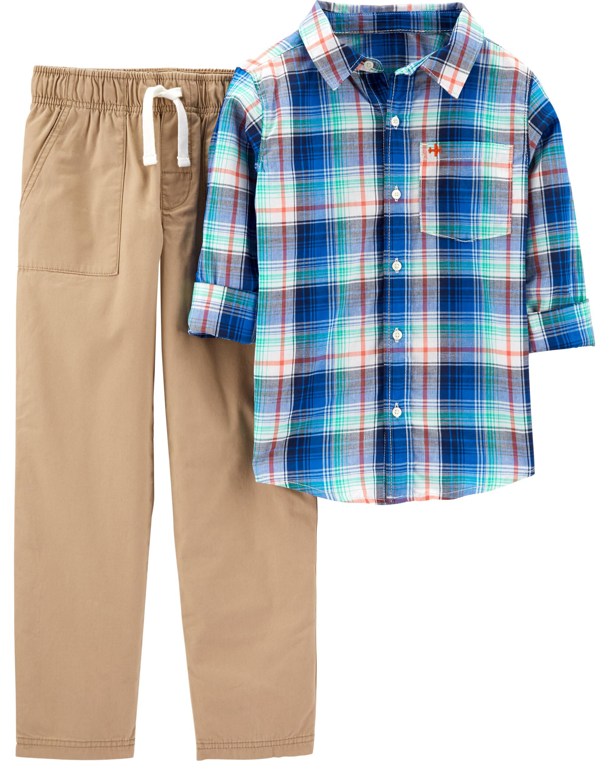 5 Kids Carters Boys Green Plaid Button Front Shorts