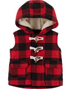 buffalo check twill flannel vest
