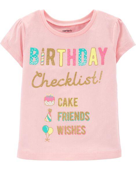 Glitter Birthday Checklist Jersey Tee