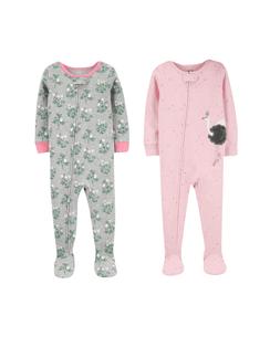 28665149cd87 2-Pack Floral & Swan Snug Fit Cotton Footie PJs