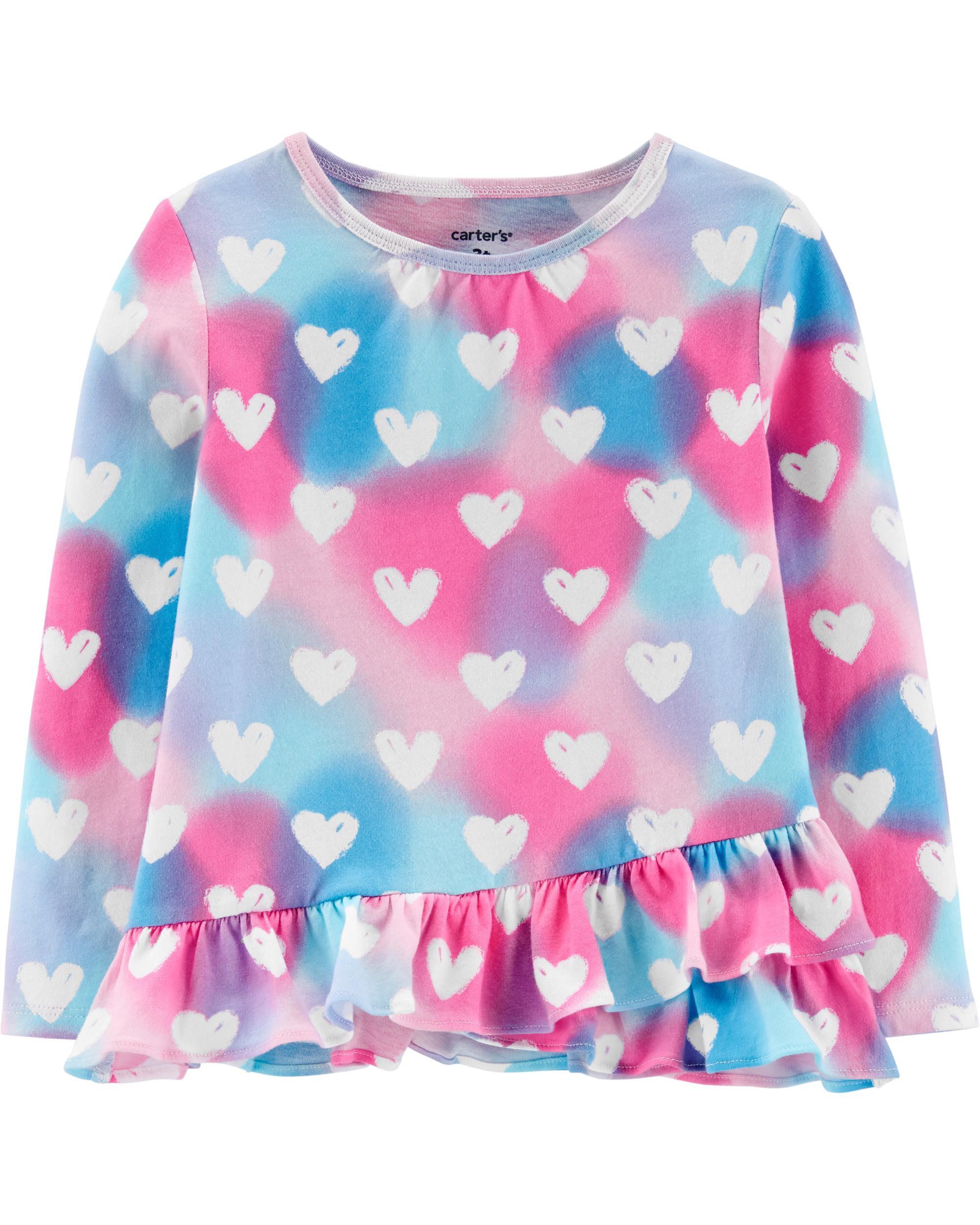Heart Horse Red Toddler//Infant Girls Short Sleeve Shirts Ruffles Shirt Tee Jersey for 2-6T
