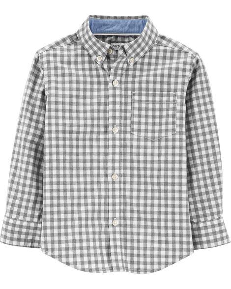 Checkered Poplin Button-Front Shirt