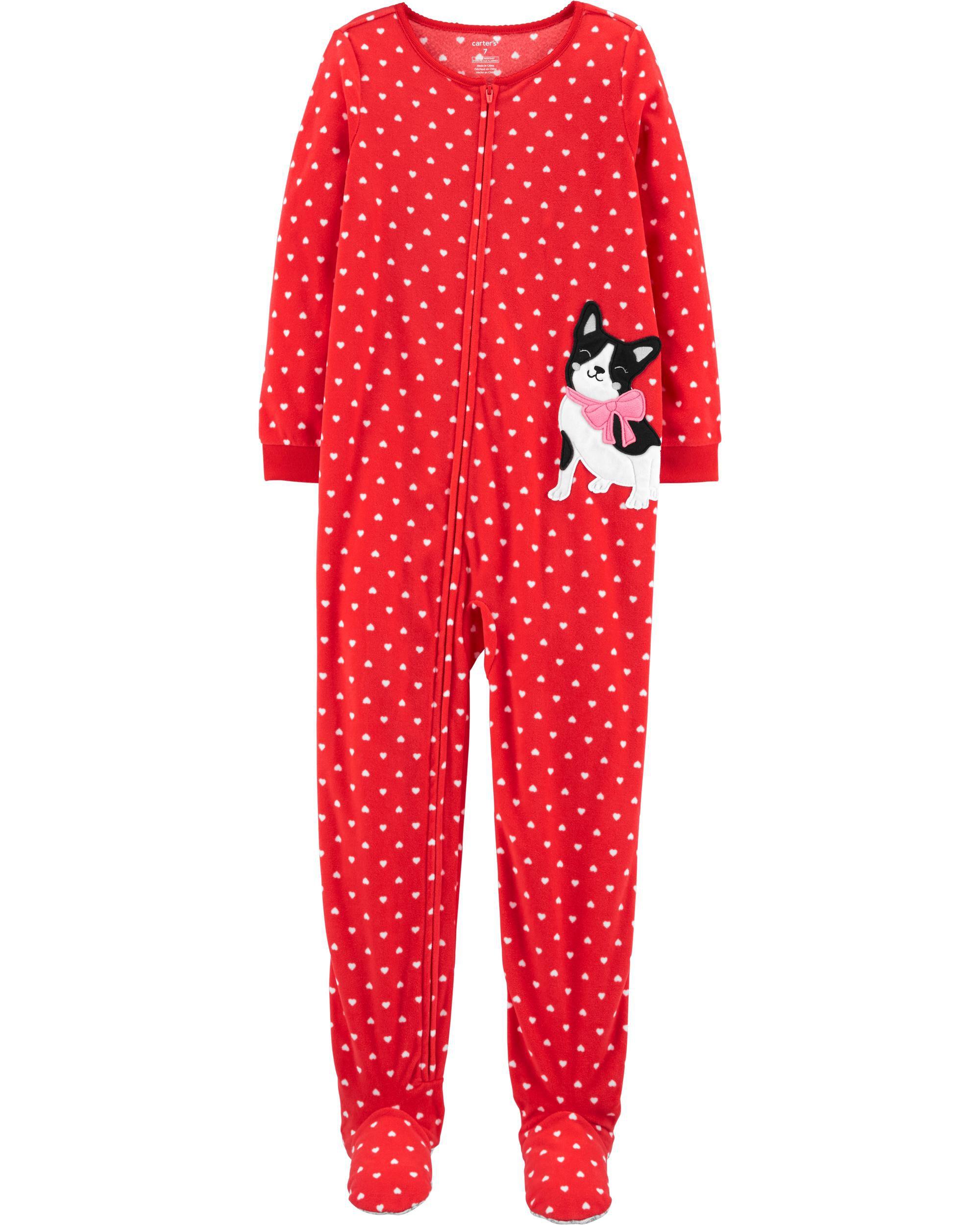 *CLEARANCE* 1-Piece French Bulldog Fleece Footie PJs