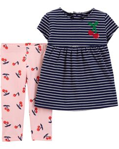7a51a70b9 2-Piece Striped Jersey Top & Cherry Capri Legging Set