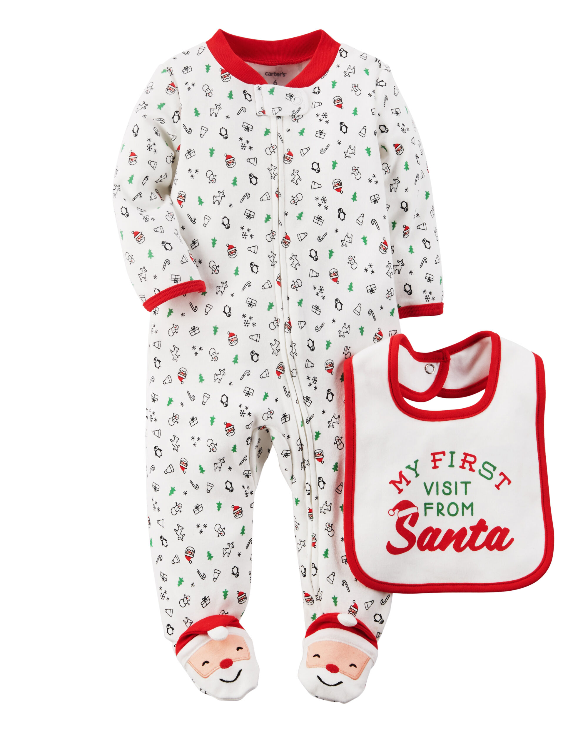 2-Piece Christmas Sleep & Play & Teething Bib Set | Carters.com