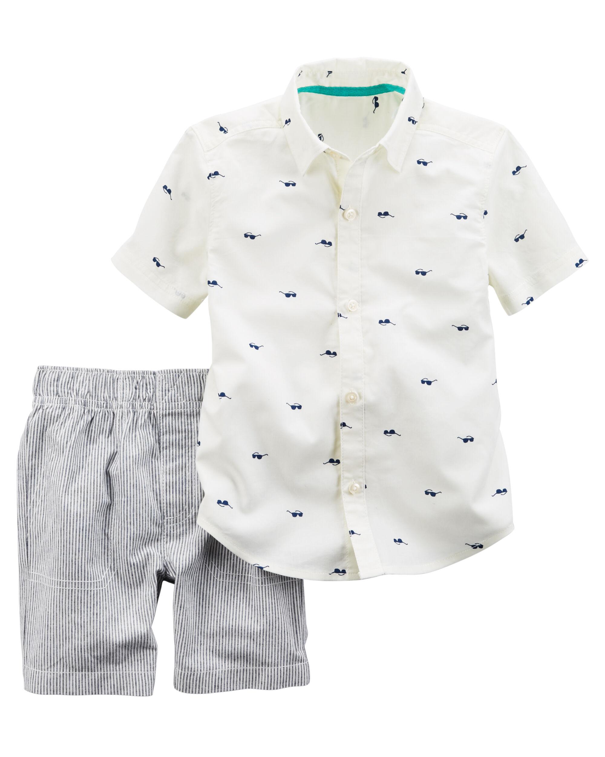 2 Piece Sunglasses Button Front & Striped Short Set
