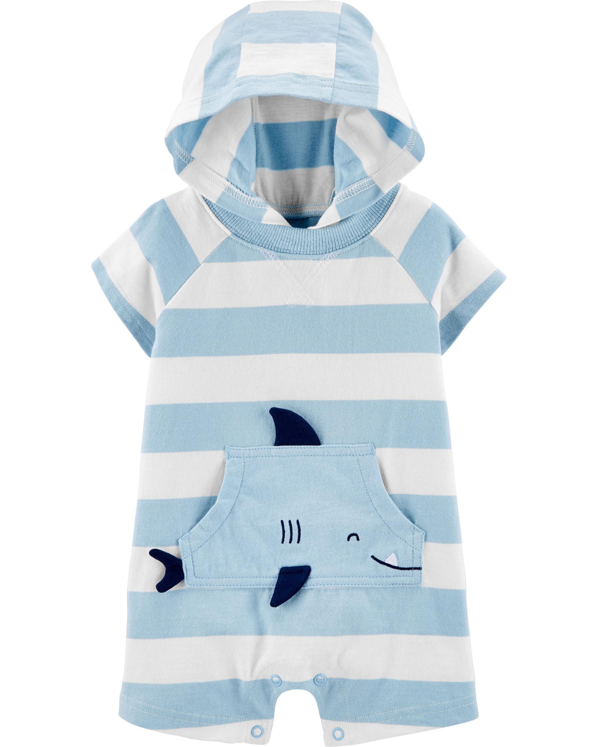 *CLEARANCE* Striped Shark Jersey Romper
