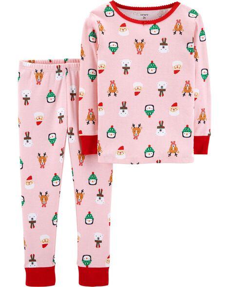 cde1a93bf2a8 2-Piece Kid Christmas Snug Fit Cotton PJs