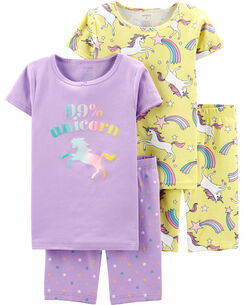 4-Piece Unicorn Snug Fit Cotton PJs 2fb0f1c69