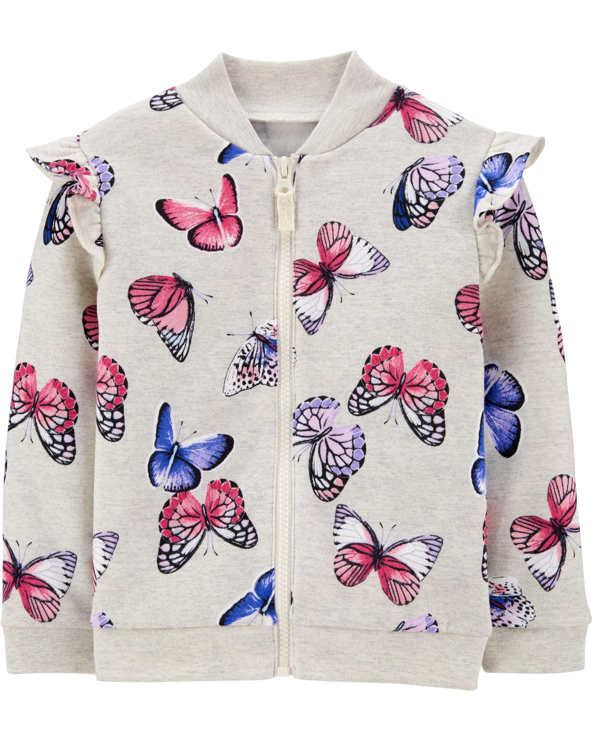 *CLEARANCE* Butterfly Zip-Up Fleece Jacket