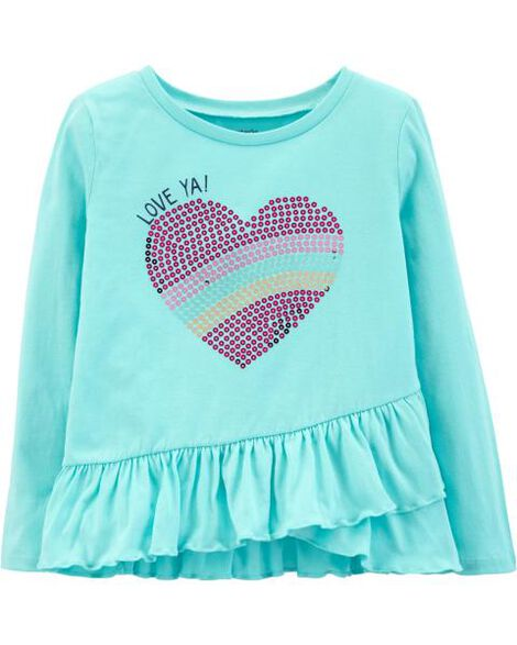 505c86bf Sequin Heart Ruffle Tee; Sequin Heart Ruffle Tee ...