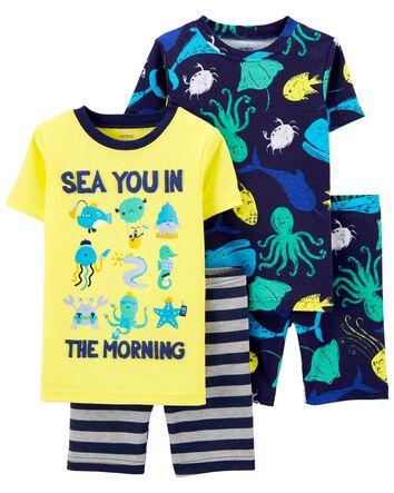 Carter/'s Toddler Boys 4 Pc Snug Fit Cotton Pajama Set NWT Dream Team   Size  2T