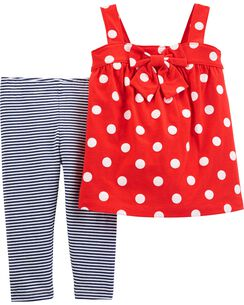 7a7d403474581 2-Piece Polka Dot Tank & Striped Legging Set