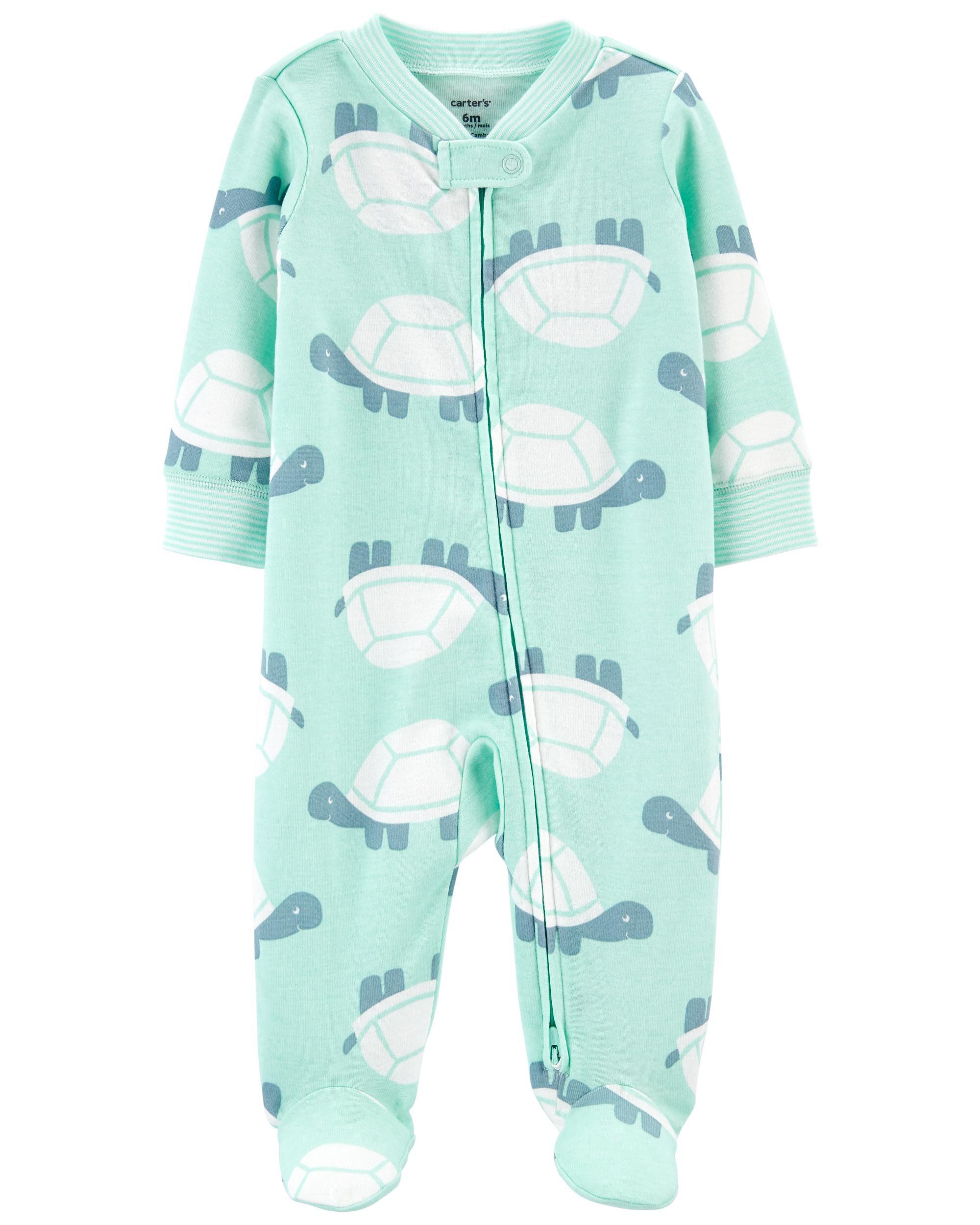 Turtle 2-Way Zip Cotton Sleep & Play