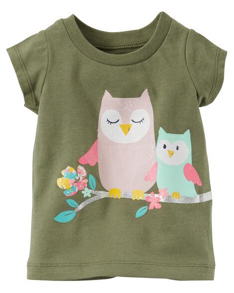 d169f363 Glitter Owl Graphic Tee   Carters.com