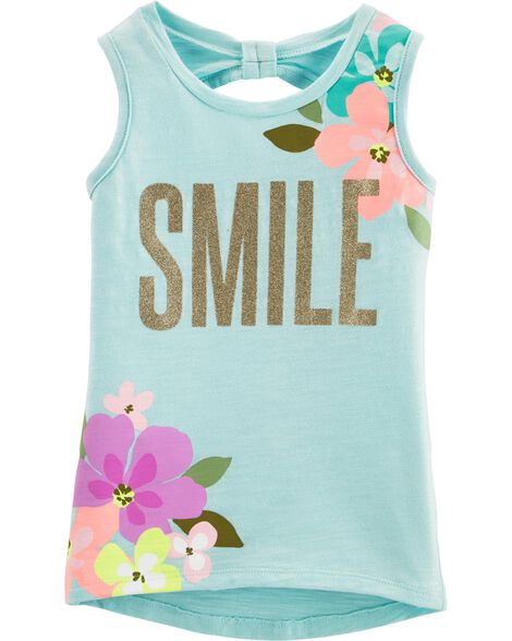 Glitter Floral Hi-Lo Slub Tank