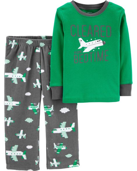 2-Piece Airplane Cotton & Fleece PJs