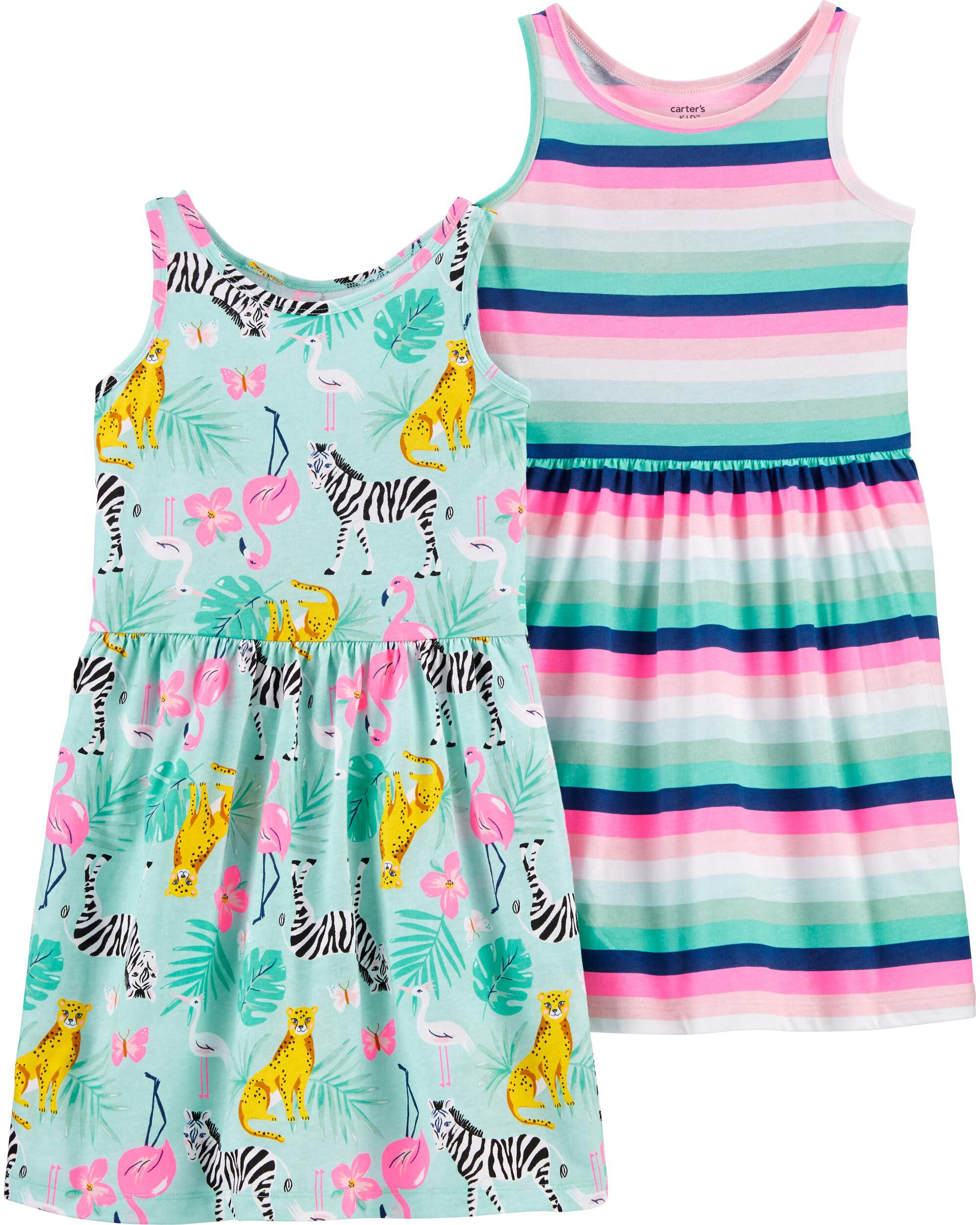Girls Dress Carters Smocked Summer Strappy Sleeveless Poplin Floral Size 5 6 NWT