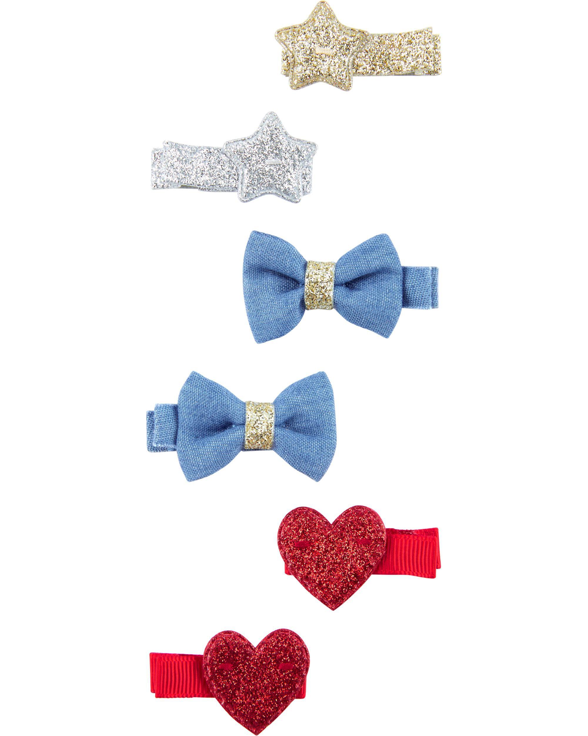 UK SELLER Baby Girl Hair Clip 3 pack Small Bow Multi Colour Spot Plain Pink Blue