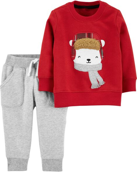 59746739fb98e 2-Piece Polar Bear Sweater & Fleece Pant Set | Carters.com