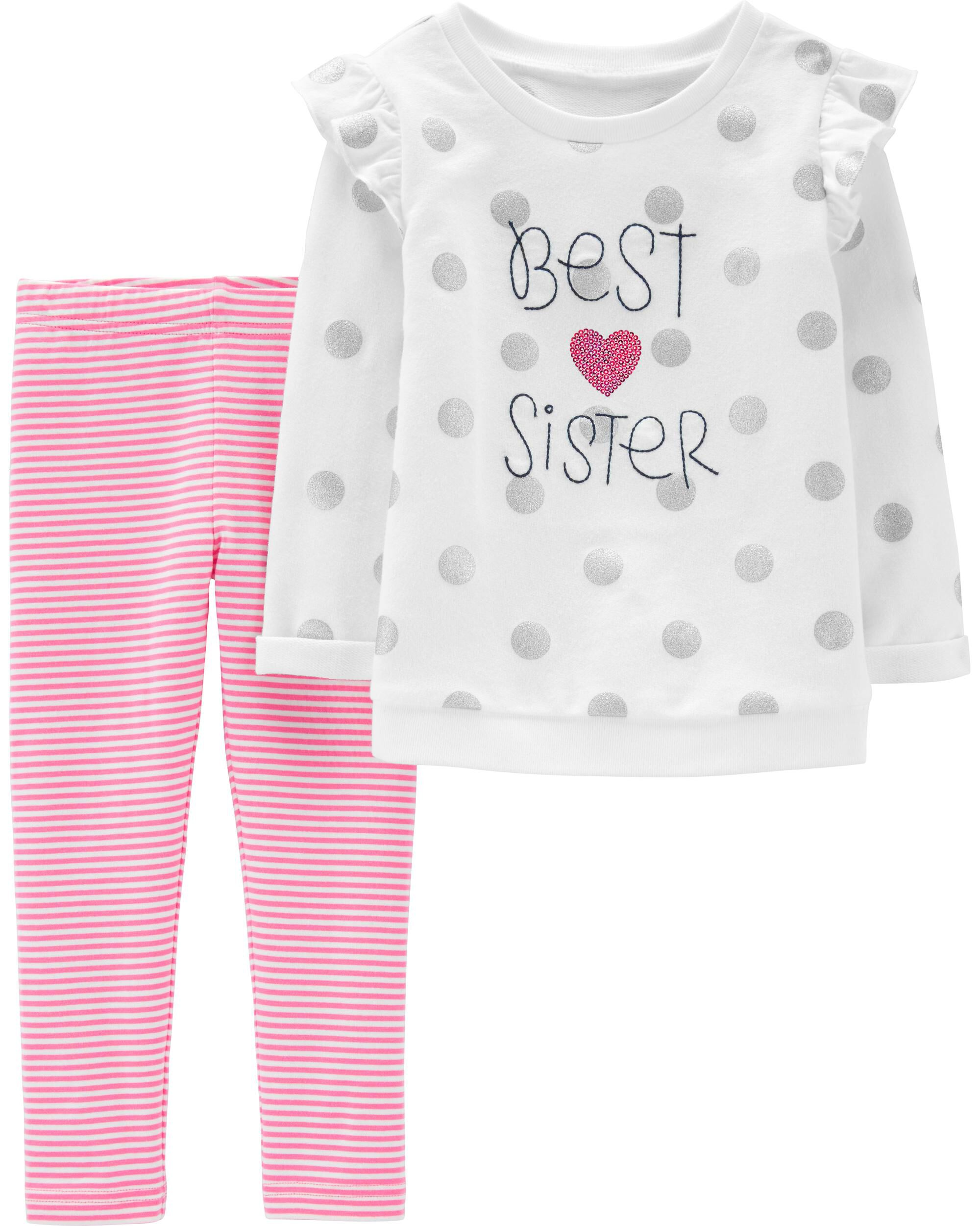New Carter/'s Girls 2 Piece Outfit Top /& Pants Set NB 3m 6m 9m Cute Little Sister