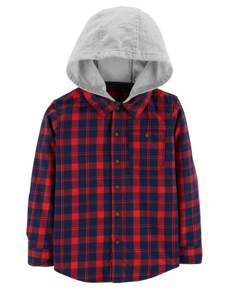 Hooded Twill Plaid Button-Front