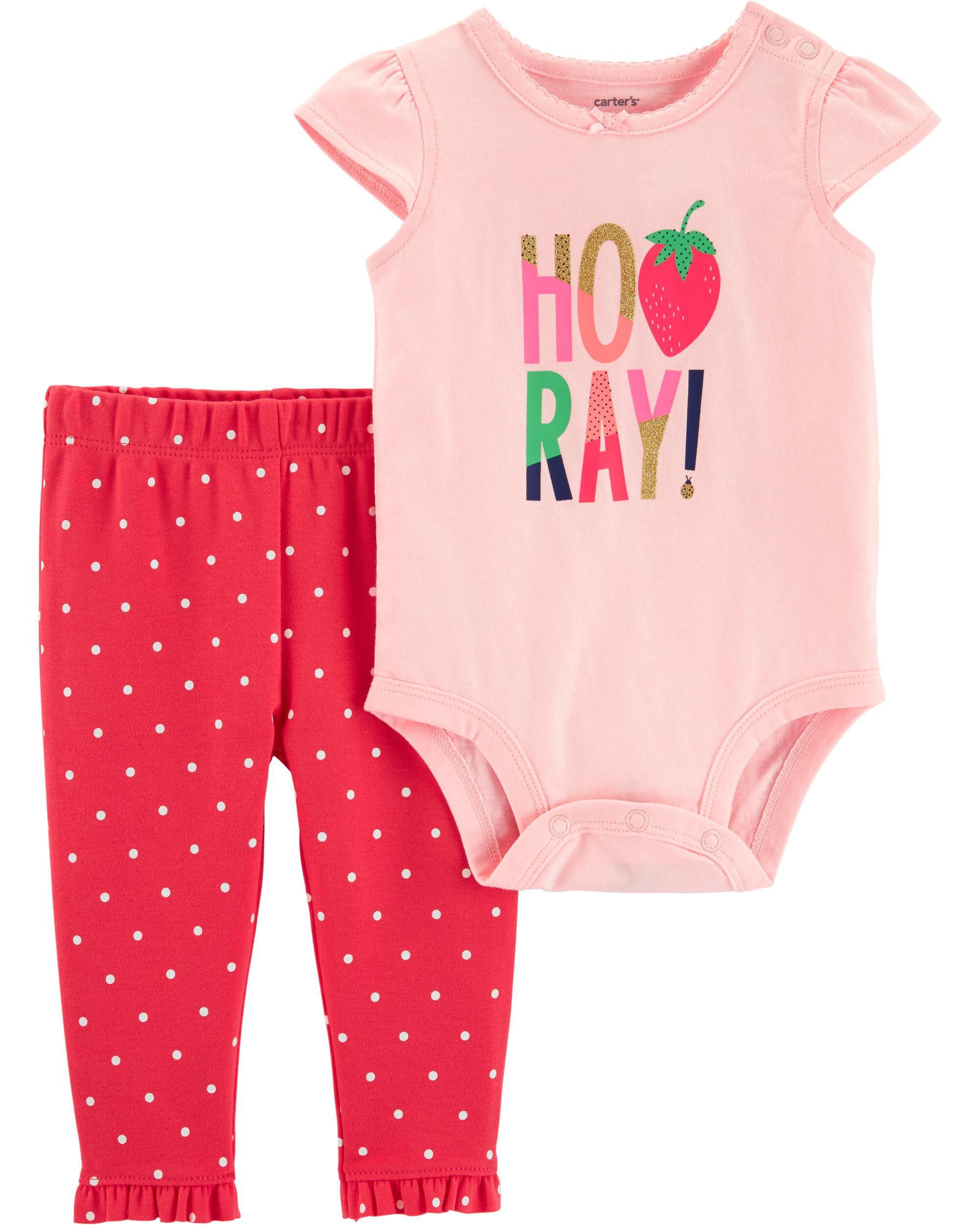 Pink Carters 2-Piece Strawberry Bodysuit /& Short Set
