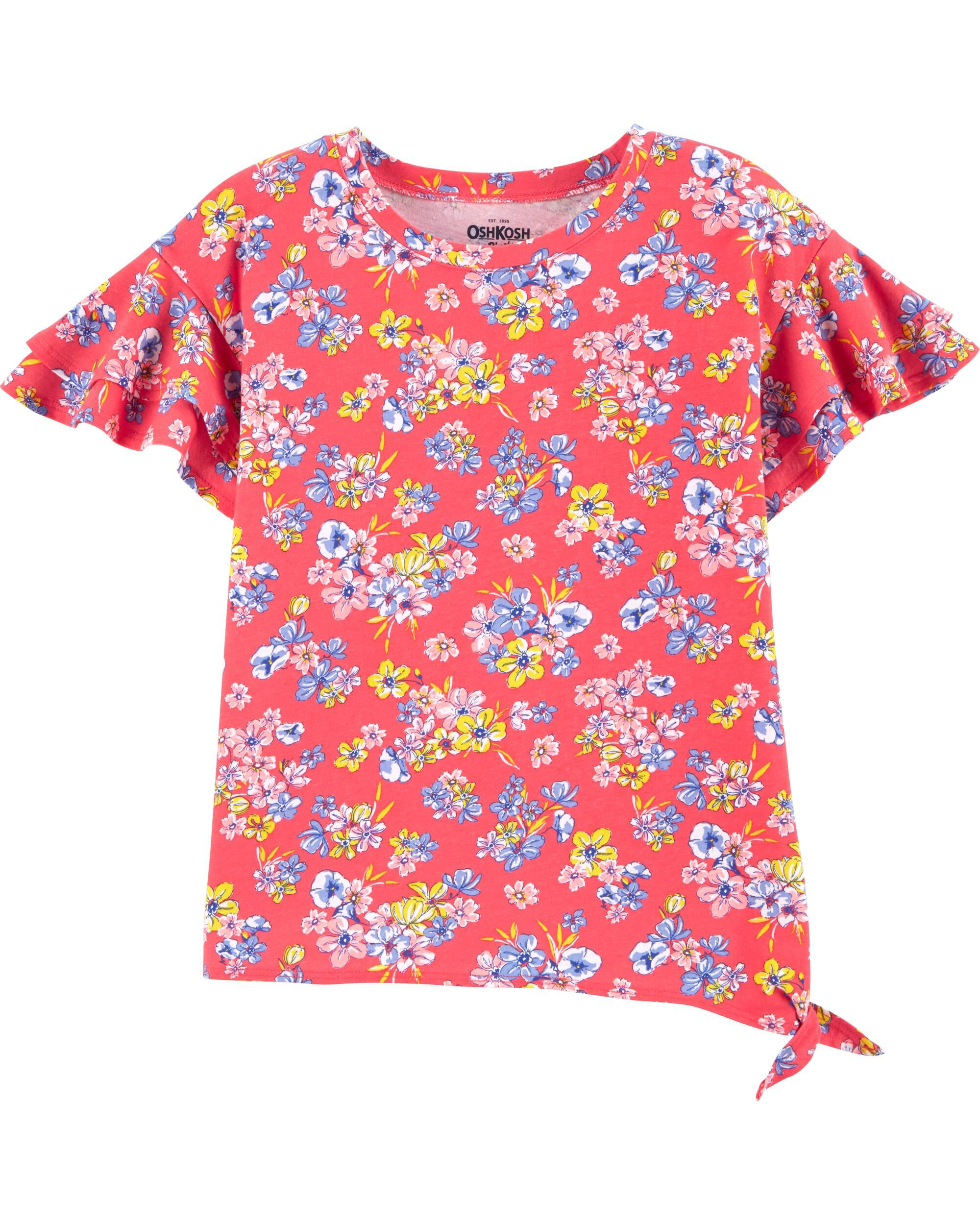 *CLEARANCE* Poppy Floral Ruffle-Sleeve Top