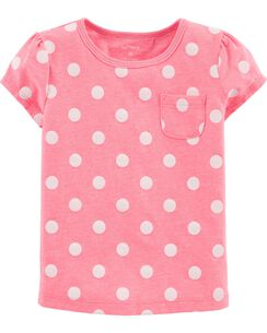Neon Polka Dot Pocket Jersey Tee