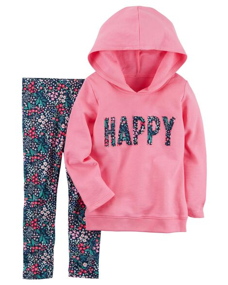 2-Piece French Terry Hoodie & Floral Legging Set