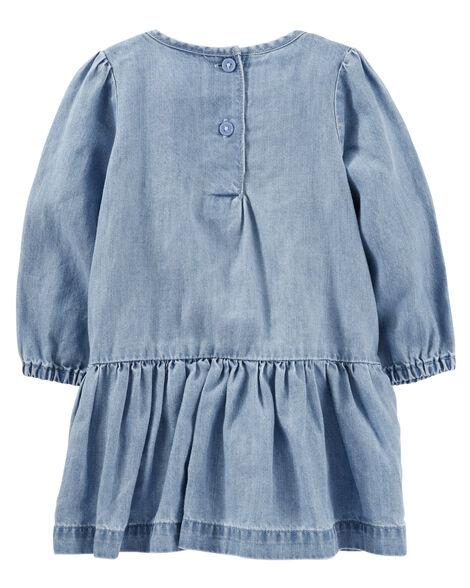 2-Piece Drop Waist Chambray Dress