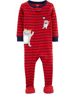d03eb2a22 1-Piece Monster Baseball Snug Fit Cotton Footie PJs