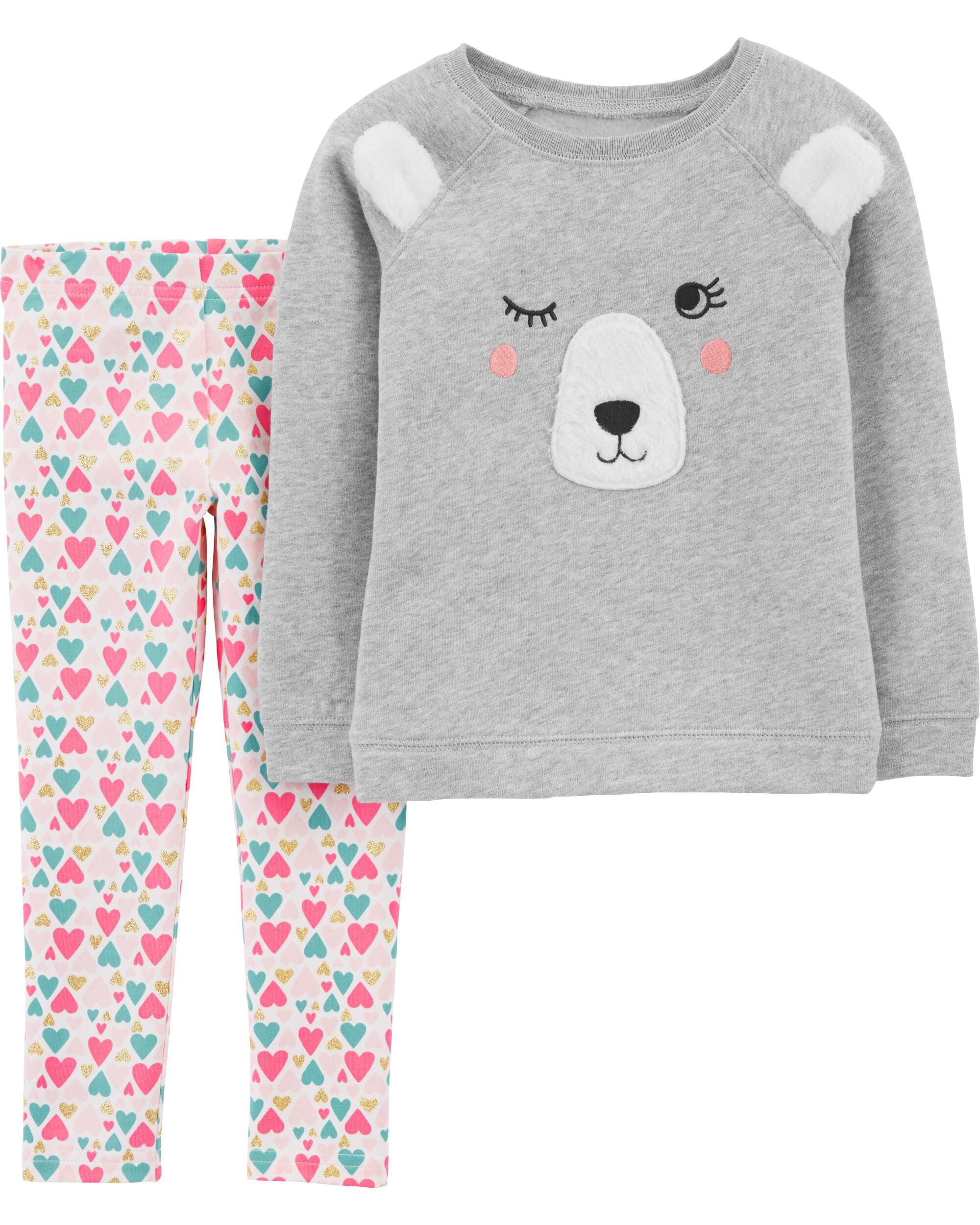7bd49fc46d88 2-Piece Bear Fleece Top   Floral Legging Set