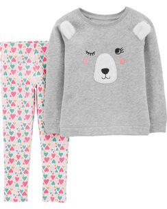2-Piece Bear Fleece Top   Floral Legging Set 77f700543bc6