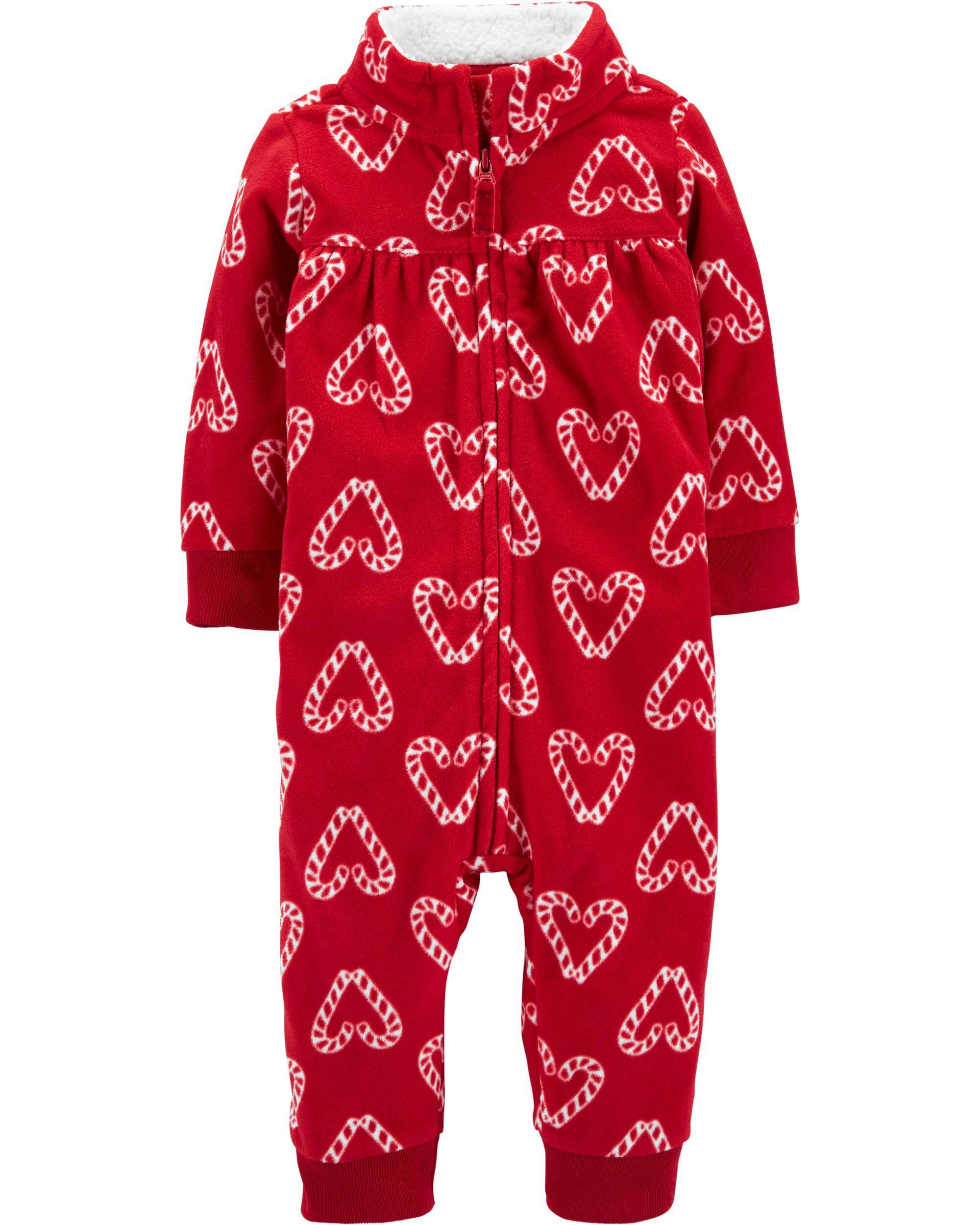 *DOORBUSTER* Candy Cane Heart Fleece Jumpsuit