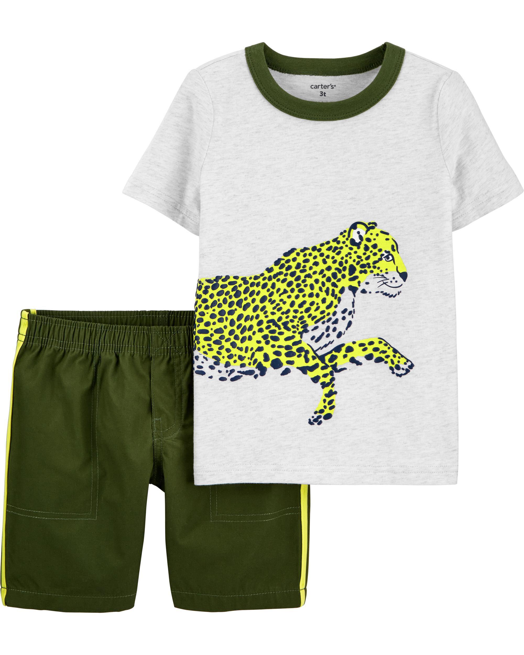 *DOORBUSTER* 2-Piece Cheetah Jersey Tee & Short Set