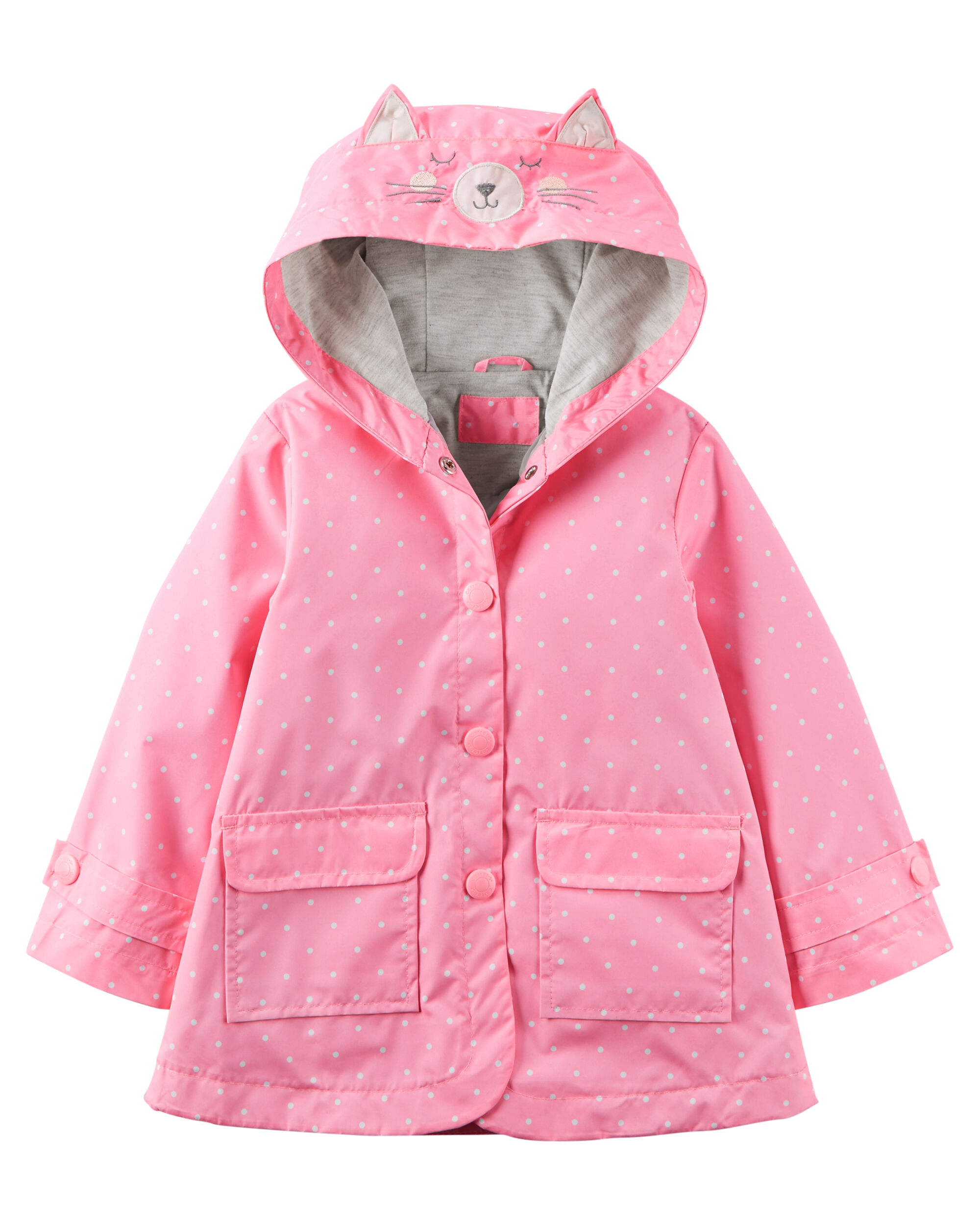 Girls Rain Coats. Cloudy with a chance of showers? Gear up your little girl in the cutest raincoats. She'll love splashing through puddles in adorable jackets and slickers in her favorite colors. Rainy Day Fun.