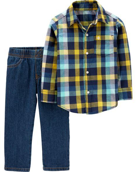2-Piece Button-Front Top & Denim Pant Set