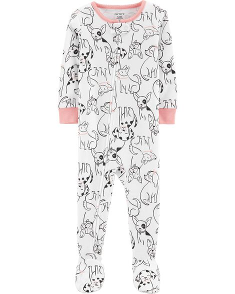 1-Piece Dog Footed Snug Fit Cotton PJs