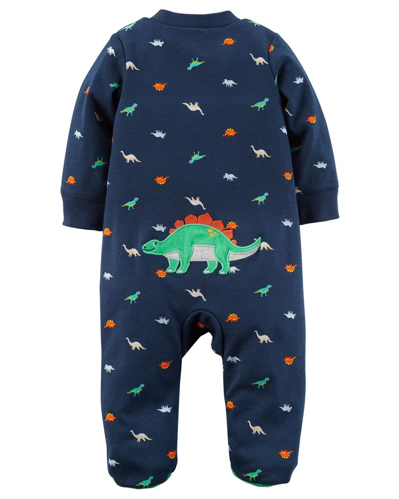 Carters Boys Camo Dinosaur Fleece Zip-up Footed Sleeper