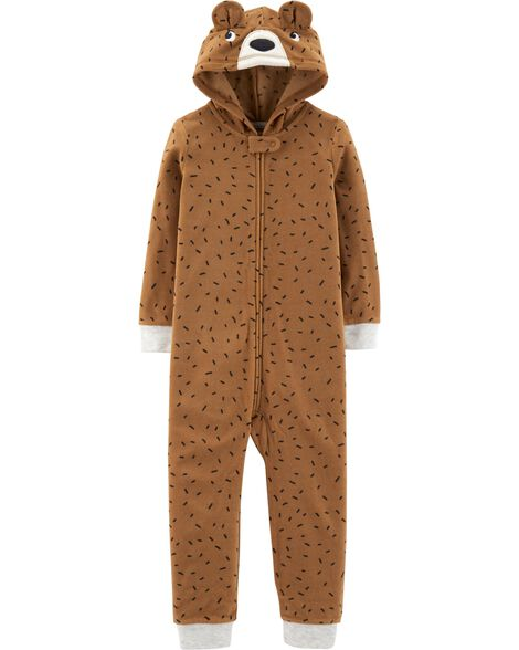 1-Piece Bear Hooded Fleece Footless PJs