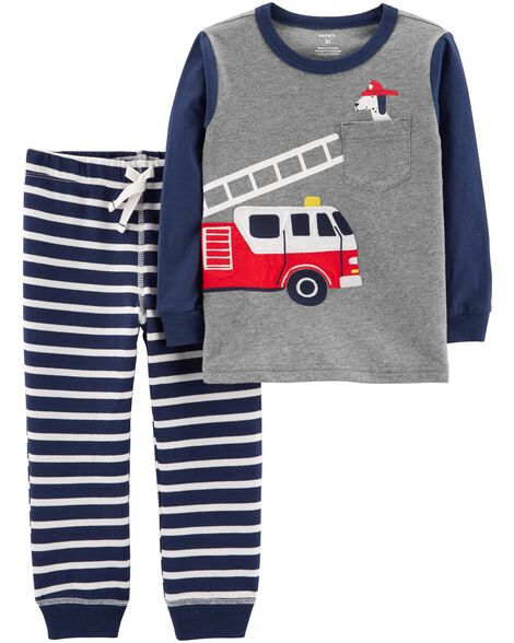 72df87004 2-Piece Firetruck Tee   Striped Jogger Set