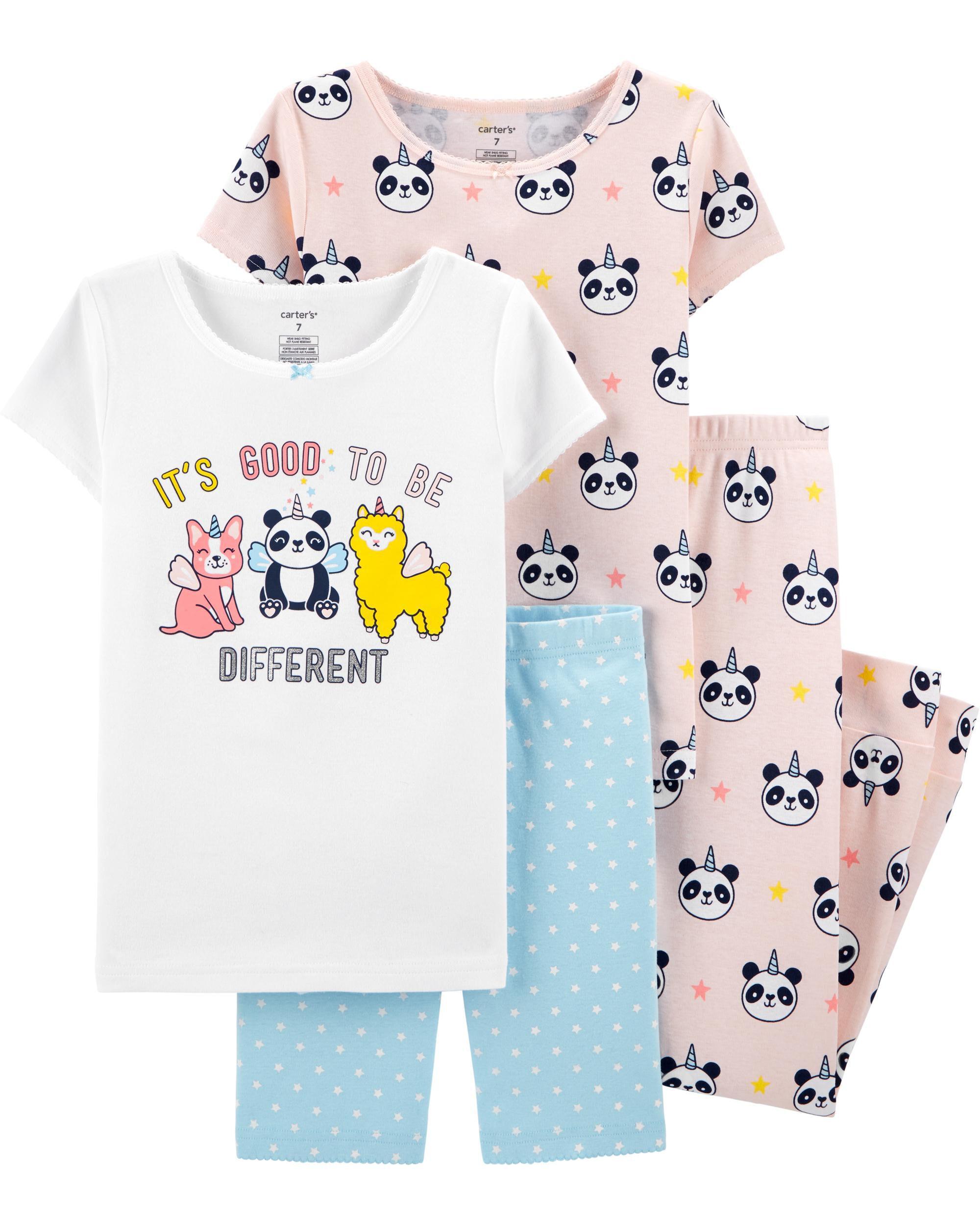 4-Piece Panda Unicorn Snug Fit Cotton PJs