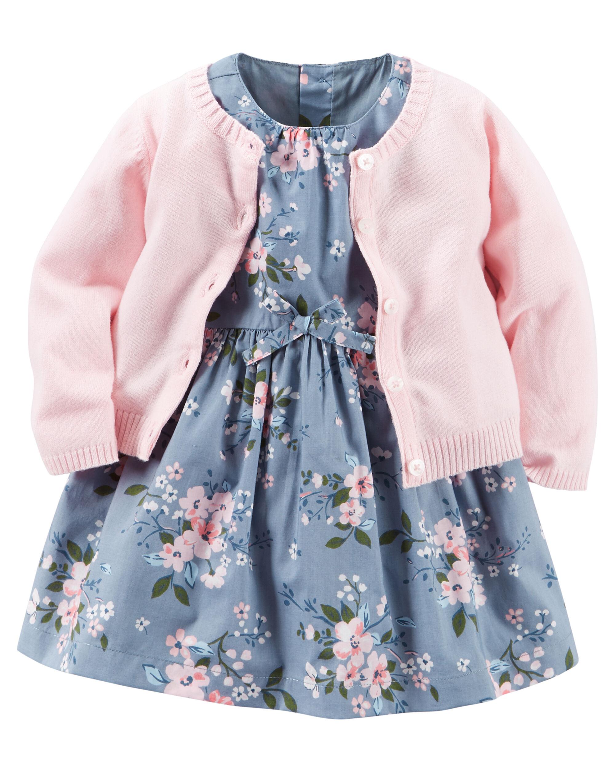 2 Piece Poplin Dress Amp Sweater Set Carters Com