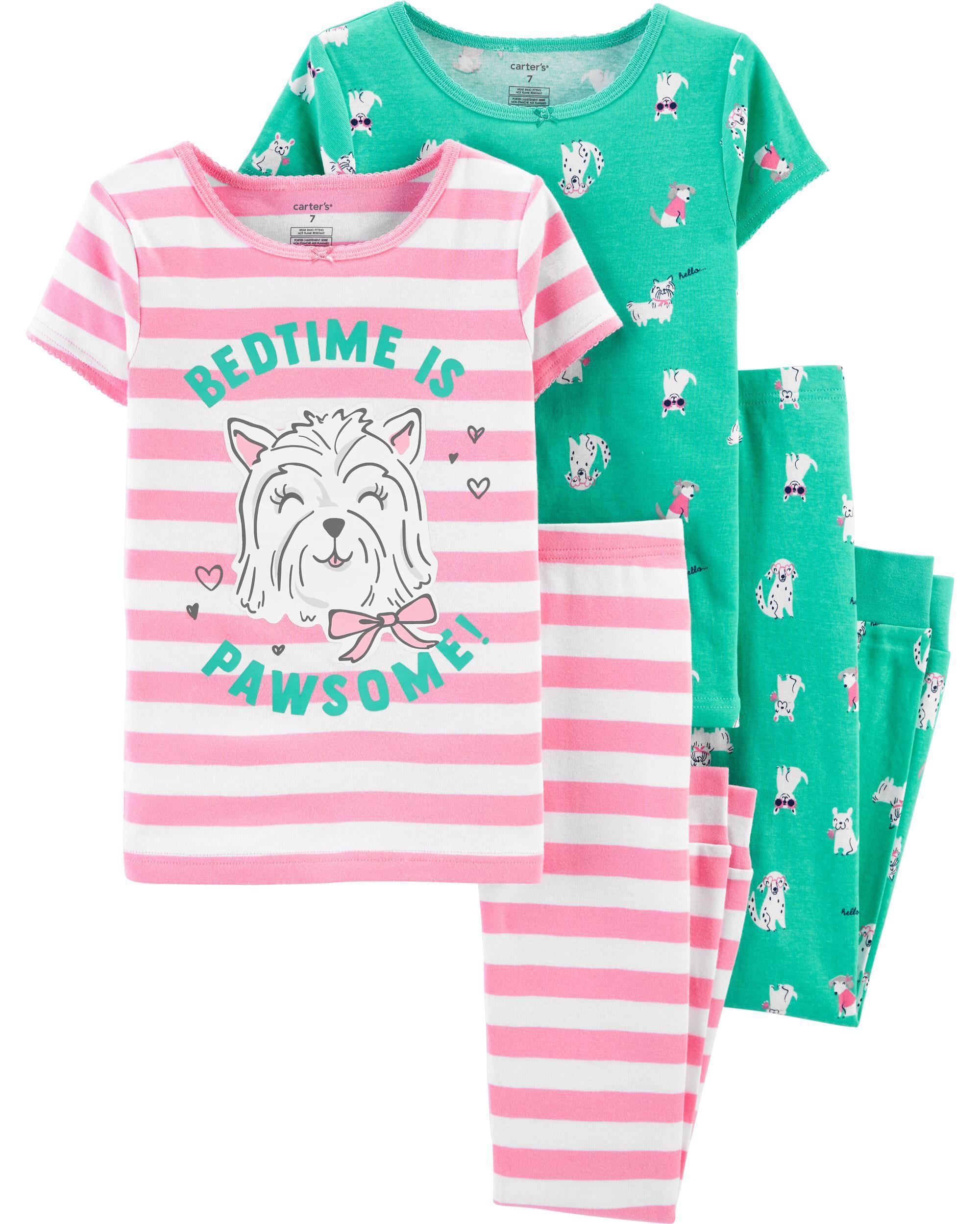 CartersGirls/' 4-Piece Ballerina Snug Fit Cotton PJs NWT pajamas dance pink